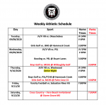 Fall Sports Schedule for the Week of 9/7/2020