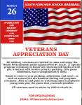 SFHS Baseball Veterans Appreciation Day March 26, 2021