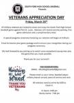 Join Us This Friday! As SFHS Baseball Presents Veteran's Appreciation Day!