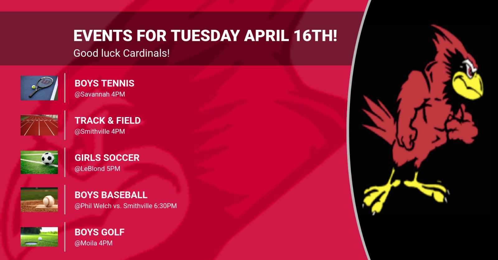 Events for Tuesday April 16th!