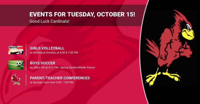 Events for Tuesday, October 15!