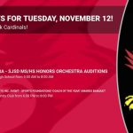 Events for Tuesday, November 12!