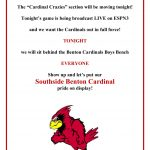 "Benton Boys Basketball – Benton vs. Savannah – NEW ""CARDINAL CRAZIES"" SECTION"