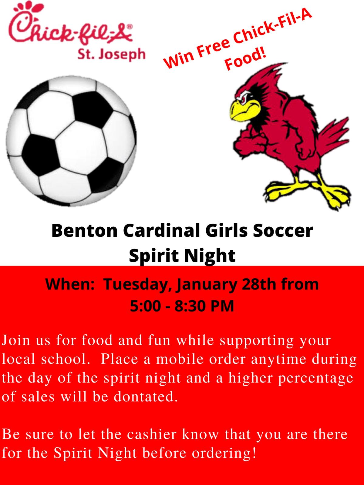 Benton Girls Soccer Chick-Fil-A Night