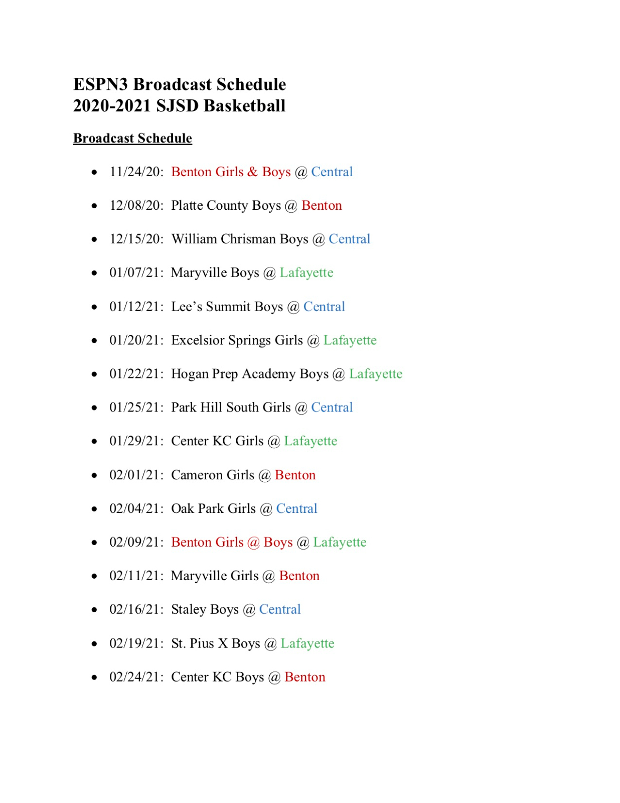2020-2021 ESPN3 Broadcast Schedule for Boys & Girls Basketball