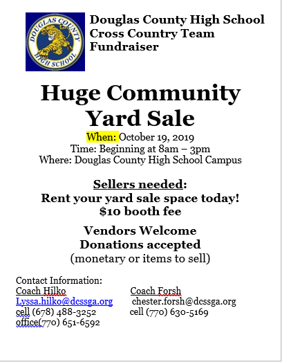 Tigers XC Hosting Community Yard Sale