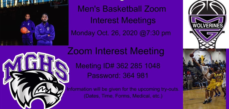 Boys Basketball Interest Meeting Monday 10/26/2020 @ 7:30pm
