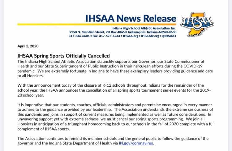 Spring Sports 2020 Cancelled