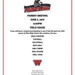 PARENT MEETING for all 2019 Fall Sports ATHLETES, Monday June 3rd