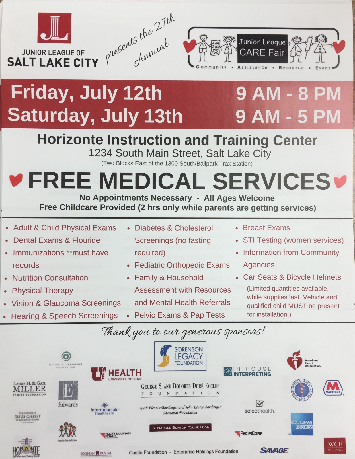 Free Physicals July 12 & 13, 2019 Horizonte