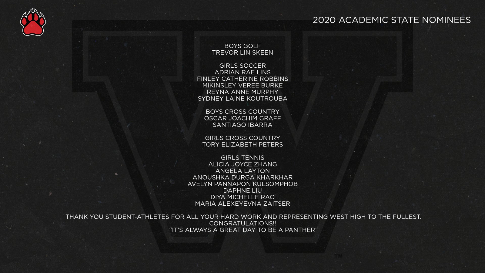 2020 Academic State Nominees