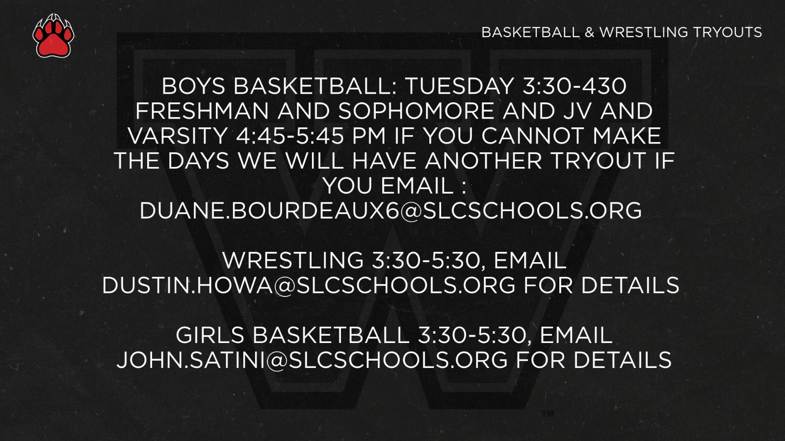 Basketball and Wrestling Tryouts November 24, 2020