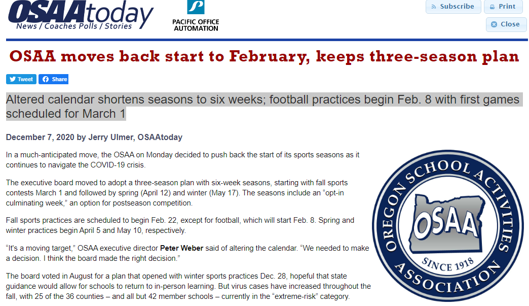 Altered calendar shortens seasons to six weeks; football practices begin Feb. 8 with first games scheduled for March 1