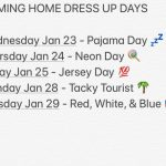 Coming Home Week Dress Up Days