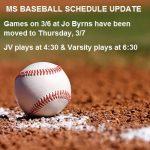 MS Baseball Schedule Update