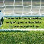 Soccer: Game vs Greenbrier moved to 6 pm 4/4/19