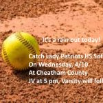 HS Softball: Schedule Change 4/8/19