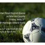 Soccer: Quarter Final District Game on 5/3 at Dillard Field