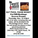 Soccer: Enjoy Pizza at WH Pizza and Pub and support Heritage Soccer