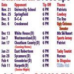 HS Basketball Cavalry Schedule