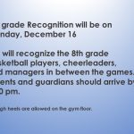 MS 8th grade Recognition updated information
