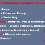 HS Basketball – Coming Home Dress Up Days set for January 13-17