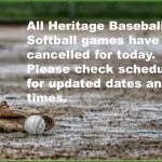 All Baseball and Softball games cancelled today