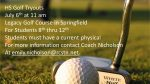 HS Golf Tryout Information