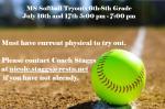 MS Softball Tryout Dates