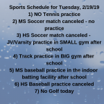 Sports Changes 2/19/19