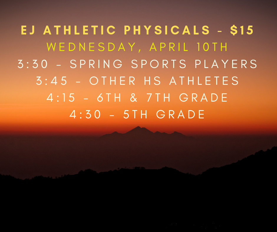 Athletic Physicals April 10th (19-20 Sports Year)