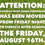 Inter-Squad Scrimmage time change!