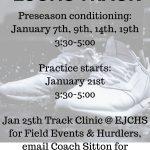 Track Preseason schedule
