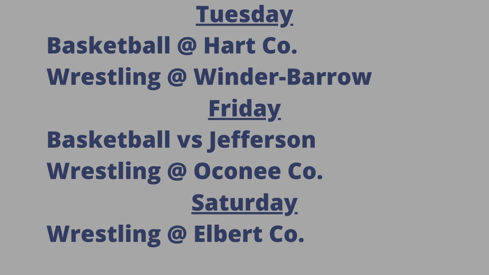 Weekly Athletic Schedule