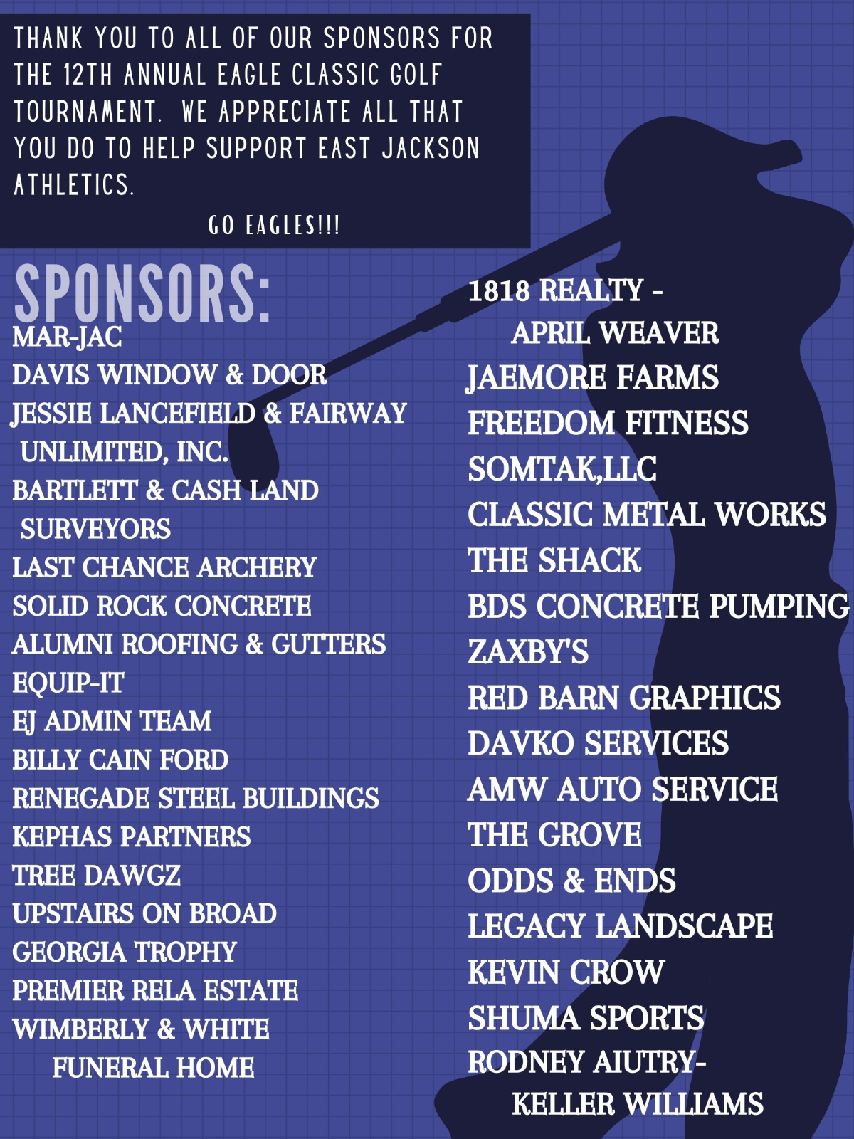 Thank you to our 2020 Eagle Classic Sponsors!
