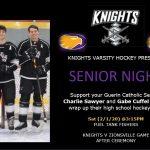 Knights Varsity Hockey Senior Night – Sat 2/1 @3:15