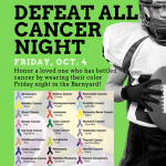 Football vs. Woodland, October 4th, Defeat All Cancer Night