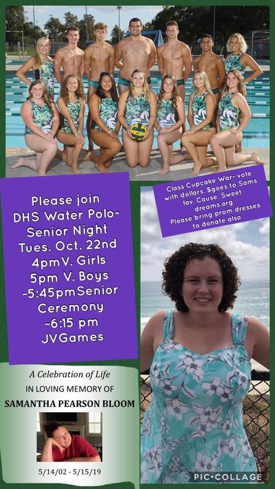 Water Polo to honor Samantha Bloom at Senior Night!