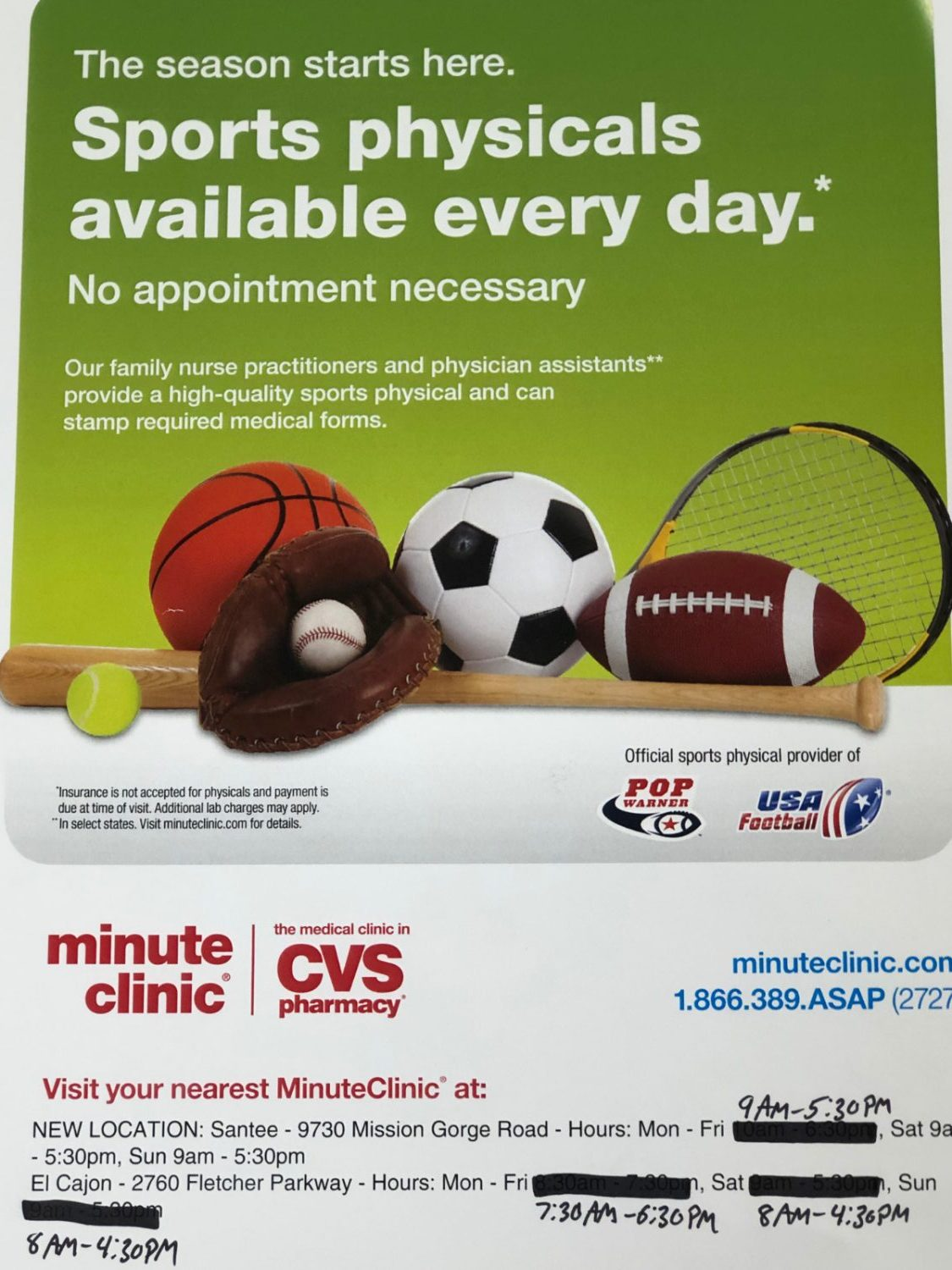 Minute Clinic Santee Sports Physicals