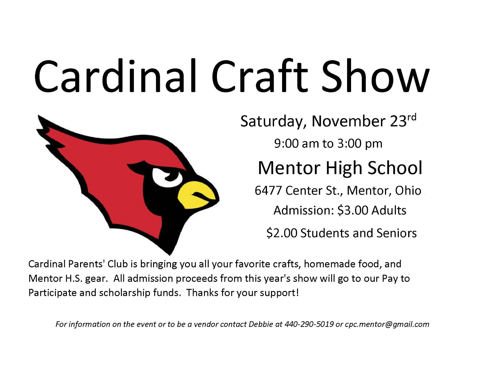 Cardinal Parents Club Annual Craft Show Saturday