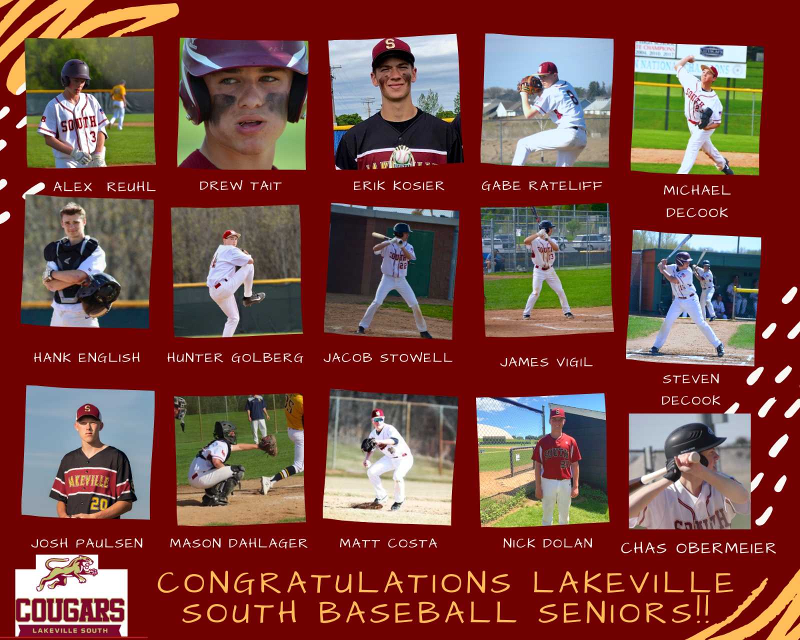 CONGRATULATIONS to the Senior Baseball Players