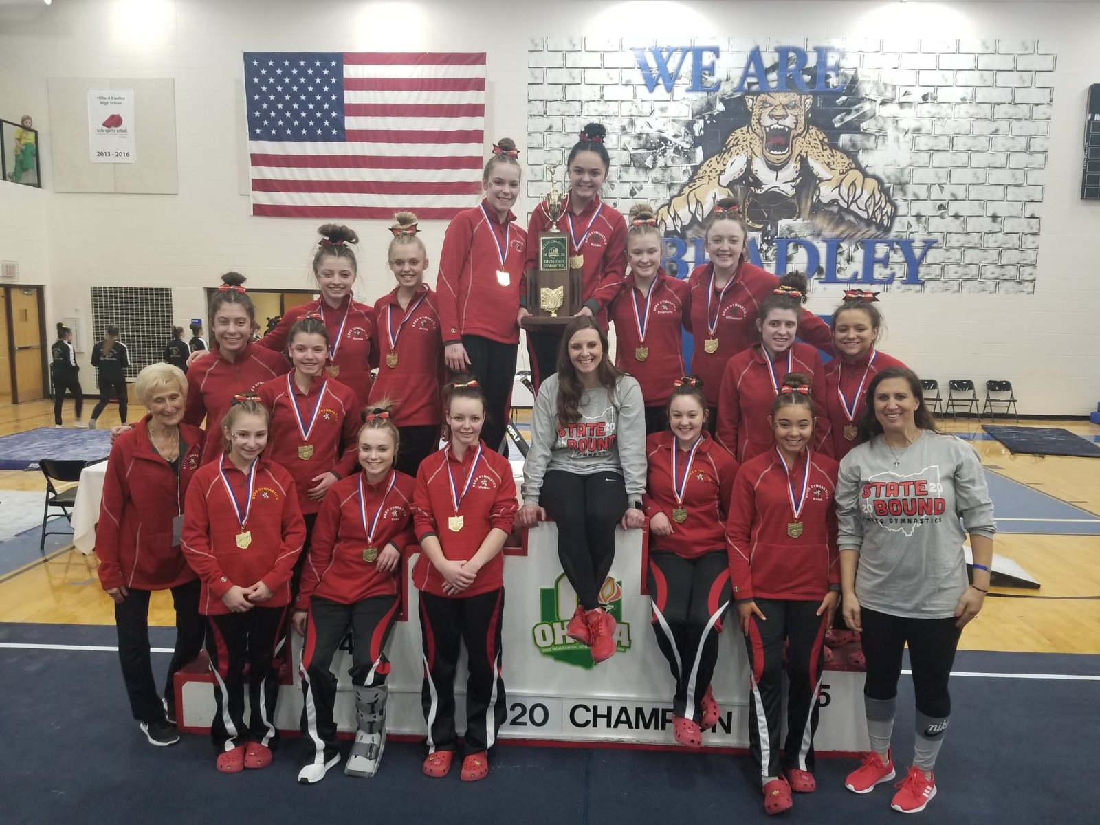 Bees Gymnastics are State Champions for the 17th Consecutive Season!