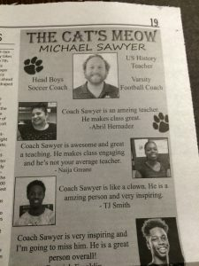 "Coach Sawyer is the ""Cat's Meow"""
