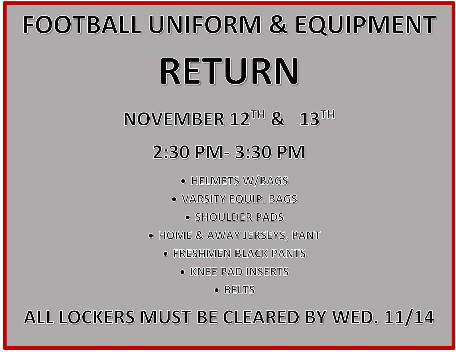 ATTENTION FOOTBALL PLAYERS-ALL LEVELS-GEAR TO RETURN DATES