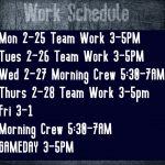 Football Schedule Feb 25th through March 1st