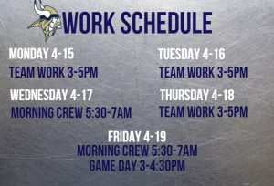 Work Schedule 4-15 Through 4-19