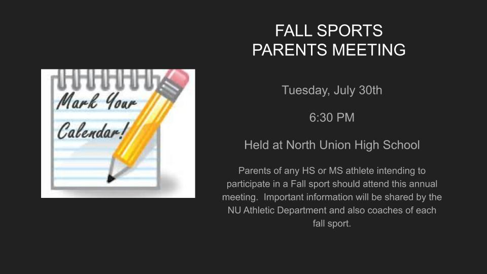 Fall Sports Parents Meeting