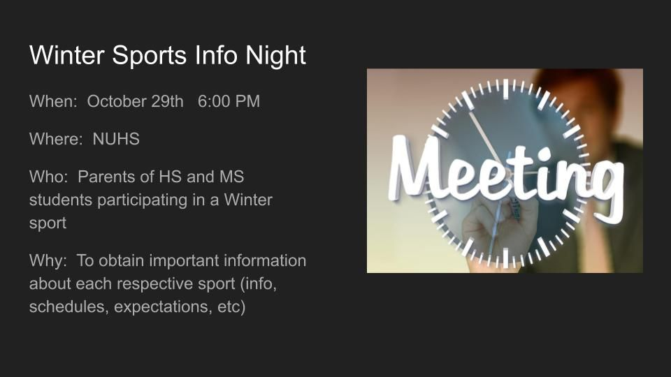 Winter Sports Info Night