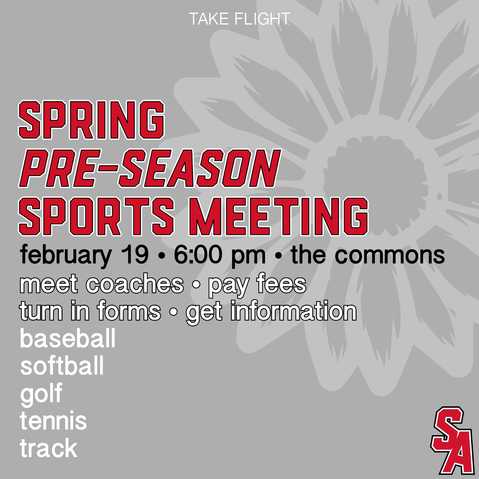 Upcoming Events & Spring Sports Info.