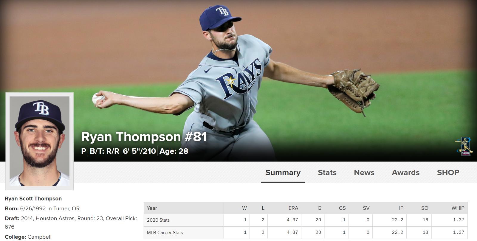 Ryan Thompson – Tampa Bay Rays (Cougar Alum)